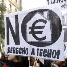 manifestacion vivienda digna pancarta