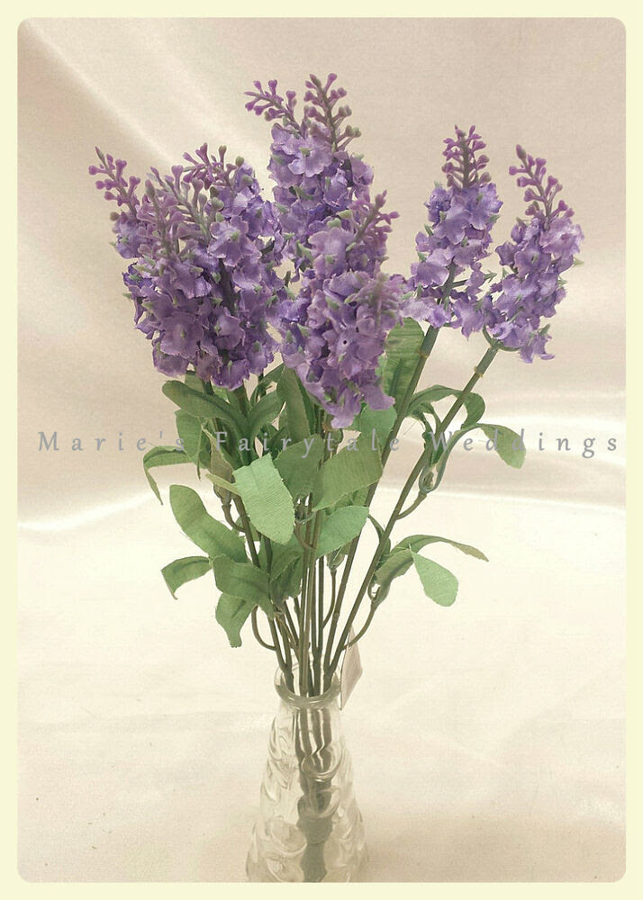 ARTIFICIAL SILK FLOWERS LAVENDER BUNCH LILAC WHITE PURPLE Home Decor Weddings eBay