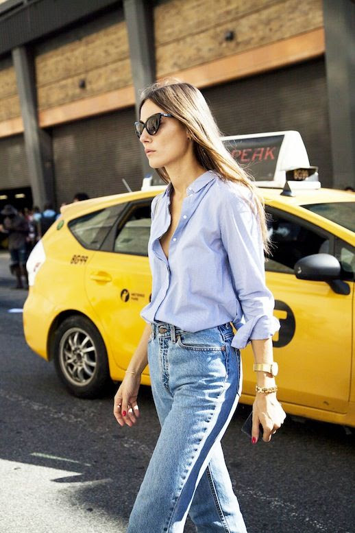Le Fashion Blog Giorgia Tordini Cat Eye Sunglasses Blue Button Down Shirt Light Wash Jeans Chunky Gold Jewelry Via The Outfit
