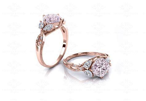 'La Parisienne' Natural Morganite Gold Flower Engagement Ring