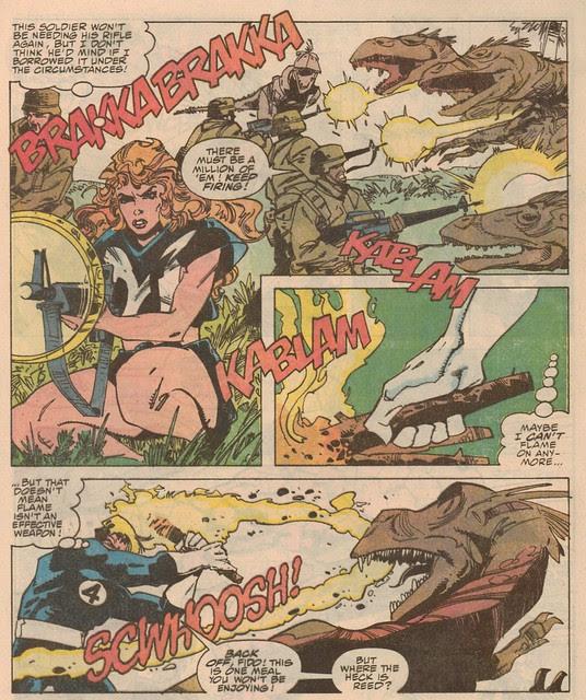 Sharon Ventura and Johnny Storm vs a Deinonychus pack