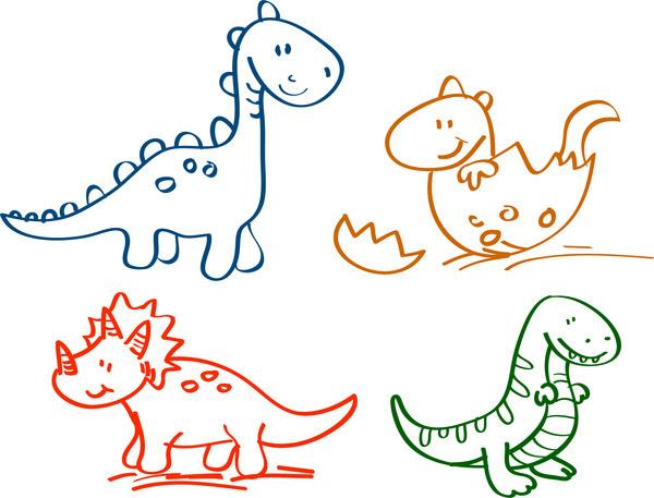 Tangan Ditarik Kartun Dinosaurus Koleksi Kartun Vektor Vektor Gratis