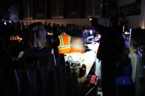 Serving during a powercut in Manhattan