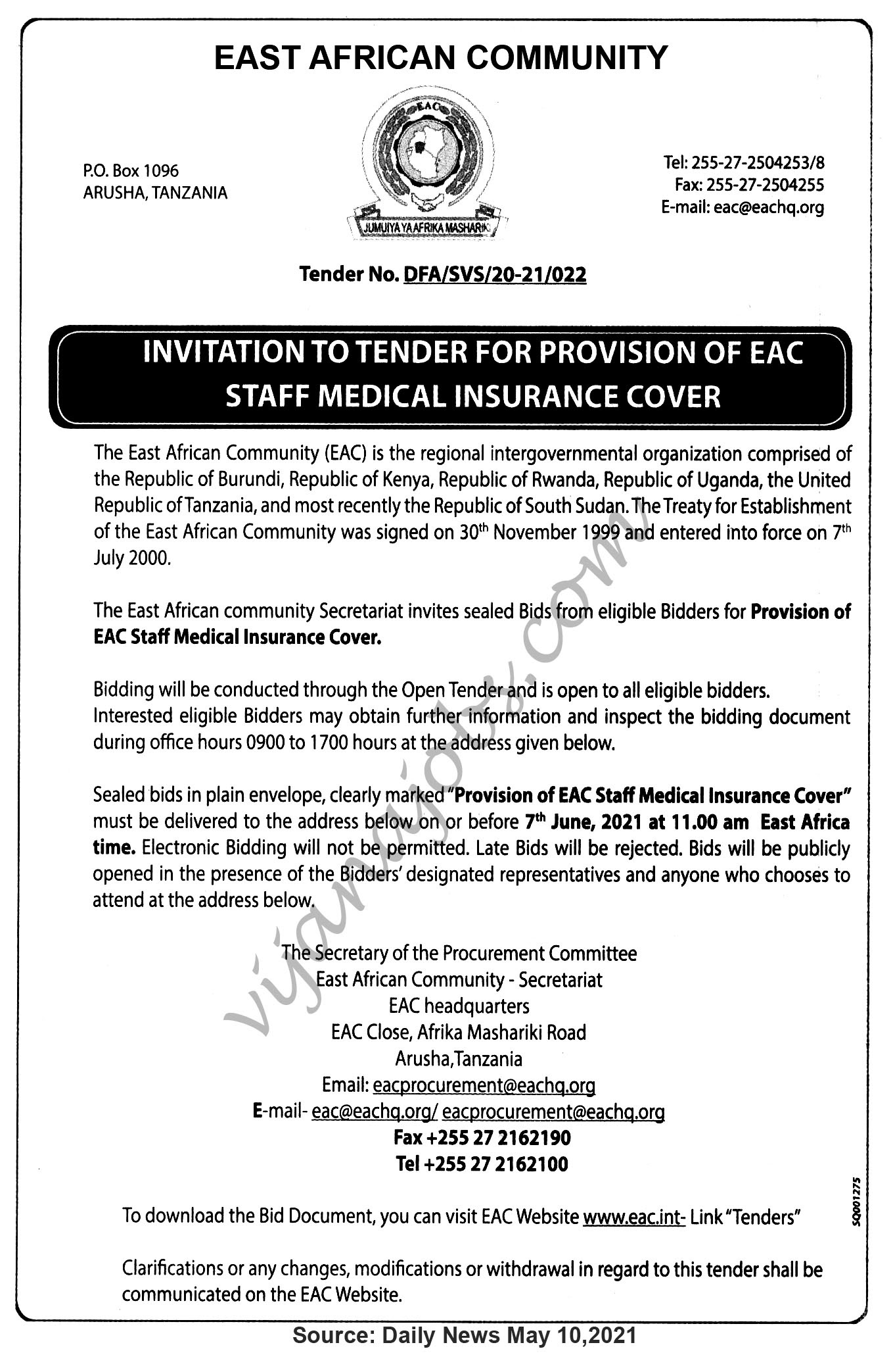 Provision of EAC Staff Medical Insurance Cover
