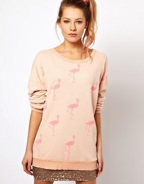 Image 1 - Wildfox - Pull à motif flamants roses