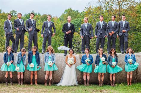 Bride & Bridesmaids In Jean Jacket At Wedding   Rustic