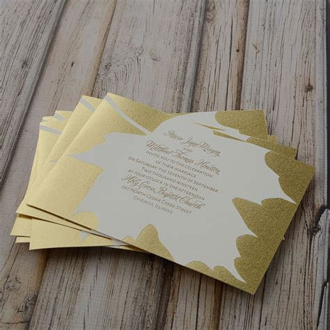 Gold Leaf Foil Invitation   Invitations By Dawn