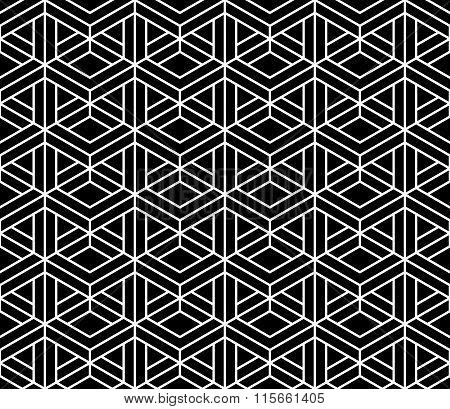 Vector Modern Seamless Sacred Geometry Pattern 3d Black And White