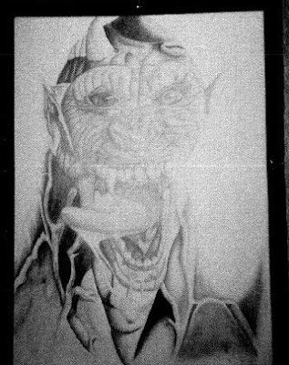 Demonic drawing in frame