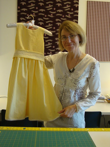 Jeanie, owner of the Common Thread in Austin, TX with a beautiful dress she's working on
