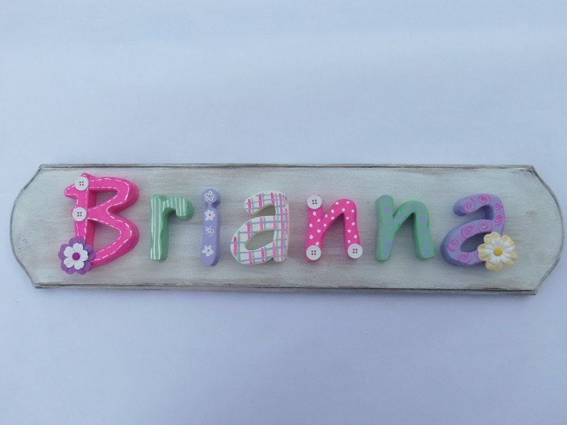 Handmade 7 Letter Baby/Child Name Plaque by NorthShedTreasures