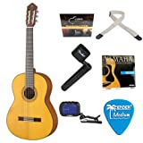 Yamaha CG182S Spruce Top Classical Guitar in Natural + String Winder, Polypropylene Guitar Strap, Clip-On Chromatic...