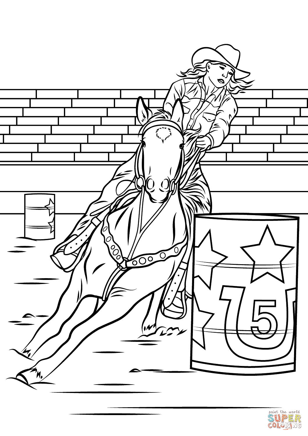 Horse Barrel Racing coloring page | Free Printable ...