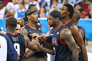 From L to R: Dwayne Wade, Carmelo Anthony, Leb...