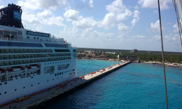 A snapshot of the Norwegian Dawn and Costa Maya resort from Deck 12 of the Norwegian Jade, on March 21, 2018.