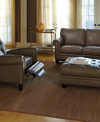 Martha Stewart Bradyn Leather Sofa Living Room Furniture ...