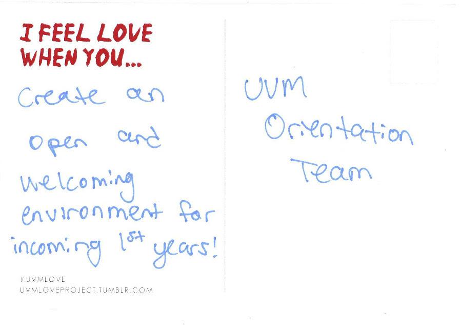 uvmloveproject:  love for the UVM Orientation Team!
