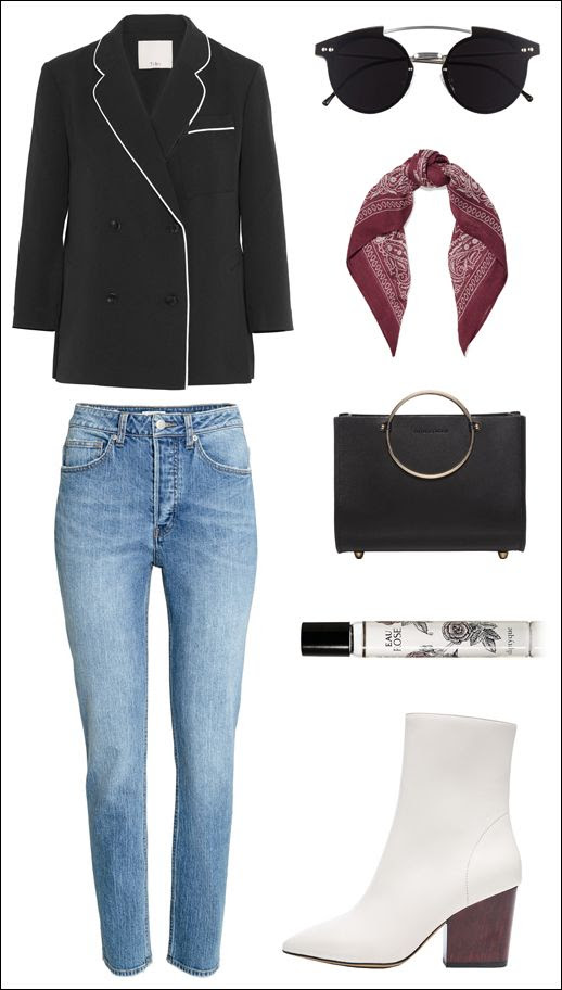 Pajama Dressing Trend Tibi Top Bandana Scarf Future Glory Ring Handle Bag HM Jeans Diptyque Rose Scent Iro White Boots PJs Outfit Inspiration Le Fashion Blog