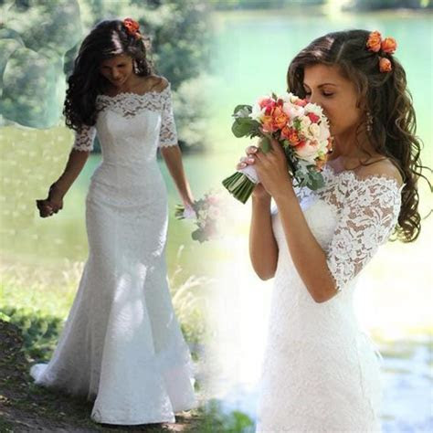 Custom Made New Short Sleeves Lace Mermaid Wedding Dress