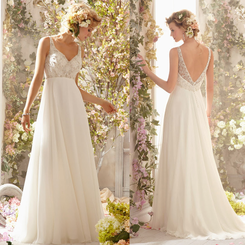 New Arrival Heavy Beaded Bodice Backless Flowy Bridal Gown Sexy Long Chiffon Beach Wedding Dress With