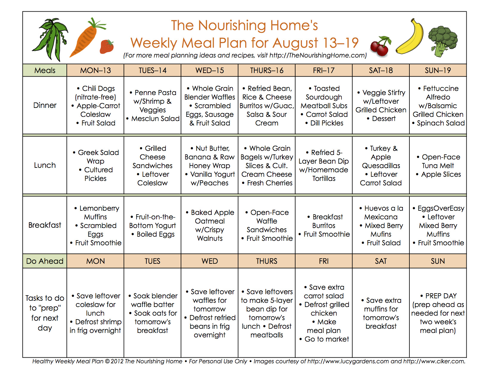 Meal Plan Monday: August 6–19 - The Nourishing Home
