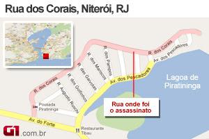 Mapa crime juíza Niterói (Foto: Arte/G1)