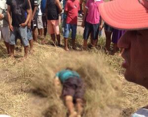 Corpo foi encontrado por populares (Foto: Reprodução/WhatsApp)