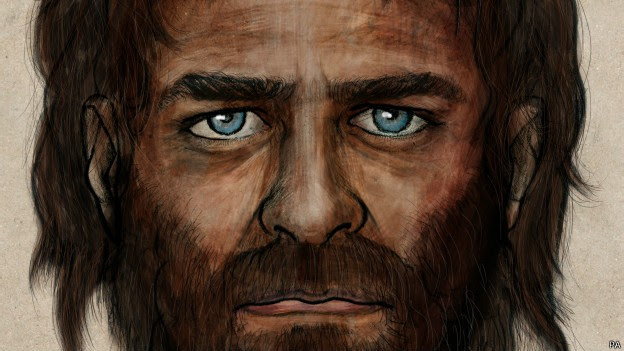 Concepção artística dos caçadores de pele escura e olhos azuis (Foto: Reprodução)