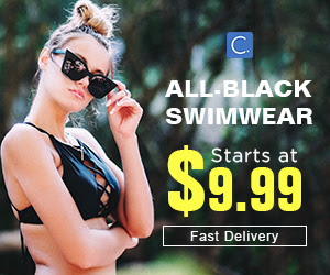 All-Black Swimwear! Starts at $9.99! Fast Delivery!
