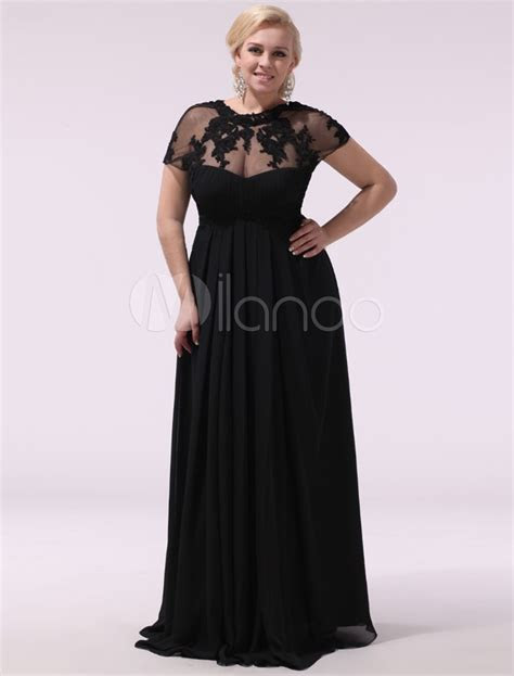 Black Prom Dresses Plus Size Evening Dress Chiffon Lace
