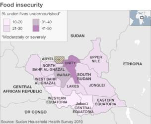 Map showing food insecurity rates in South Sudan