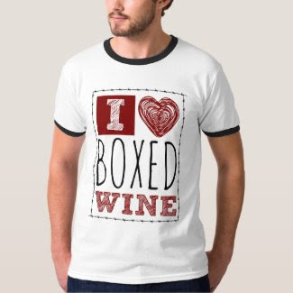 I Love Boxed Wine Barbed Wire and Heart Ringer T-Shirt