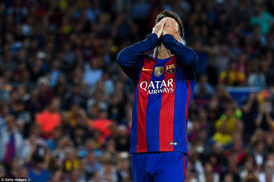 Pique sums up the anguish of the Barcelona crowd as he contemplates his late miss with a header which went just wide