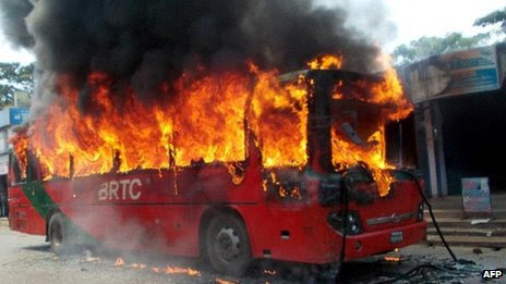 Bus burns in Chittagong after 1 October ruling