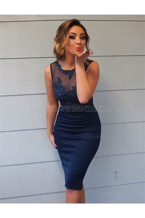Short Navy Lace Sheer Wedding Guest Dresses Bridesmaid