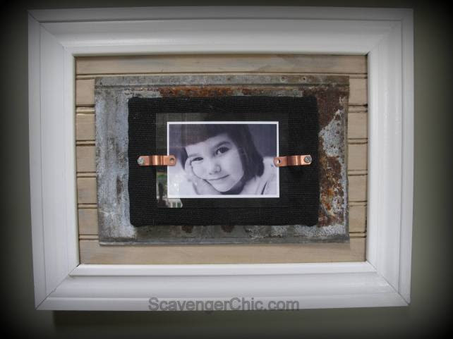 Tin and Reclaimed Wood Frame,  Wainscotiing , Roofing Tin Project, diy, handmade frame
