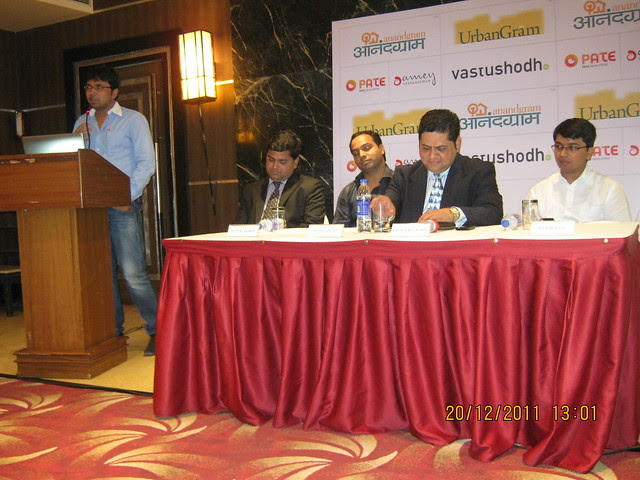 "Yogesh Pate, Director, Pate Developers, first franchisee of  affordable housing township ""UrbanGram', at the press conference"