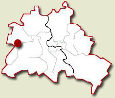 Image showing the location of the Spandau Prison on Berlin map