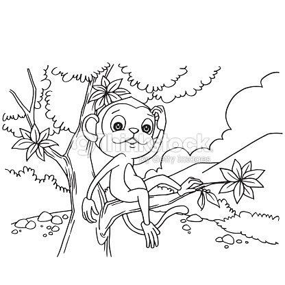 Mono De Dibujos Animados Jugando En El Bosque Para Colorear Vector