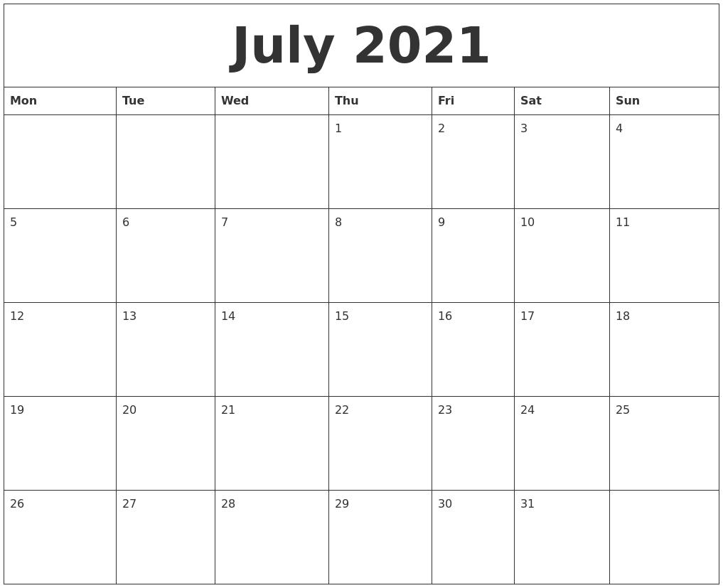 July Downloadable 2021 Calendar | Calendar 2021