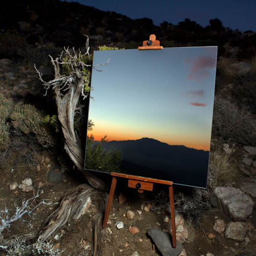 garakami:  The Edge Effect: Daniel Kukla takes pictures of a mirror reflecting the horizon, which look like a painting GARAKAMI on Facebook · Twitter · Pinterest · Instagram  YOU CAN PAINT A PRETTY PICTURE WITH A BLUE SKY AND TREES, BUT NATURE WILL ALWAYS BE PRETTIER AND CAN NEVER BE DUPLICATED.