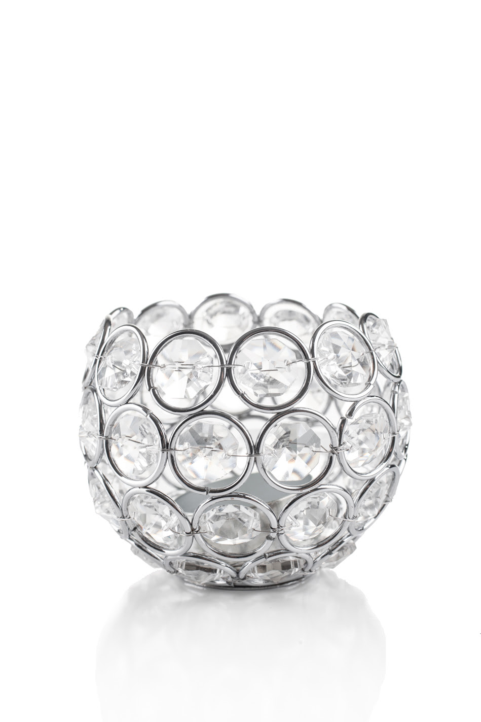 Round Beaded Crystal Votive Candle Holders, Small 3 Inches