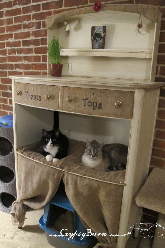 Maybe I should add: Space Savers:  Cat Condo from old Dresser idea    Seriously: If you have cats - you know how expensive Cat condos, trees, furniture etc cost. - so why not DIY