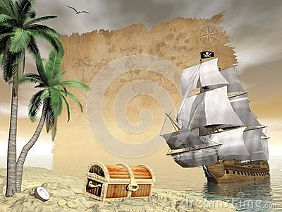 Pirate Ship Finding Treasure 3d Render Stock