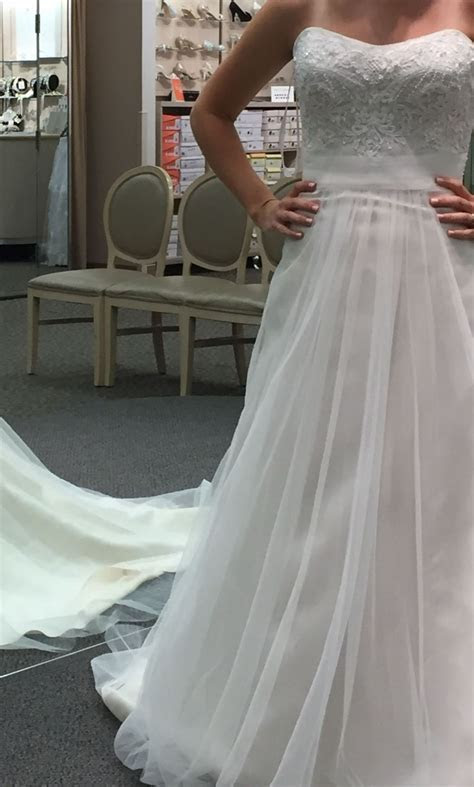 David's Bridal Strapless A Line Beaded Lace Tulle Wedding