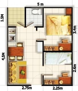 10 Denah Rumah Minimalis Type 36 2 Kamar Tidur