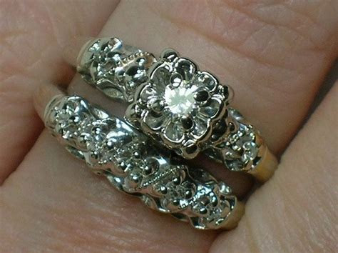 Vintage Wedding Ring Set: Ornate 1940s White Gold Illusion
