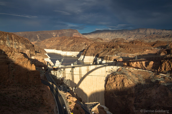 view of the Hoover Dam from the new Hoover Dam Bypass Bridge