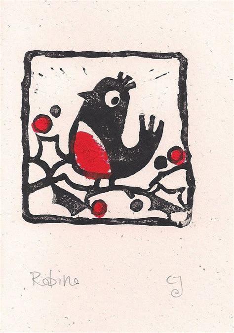 Robin   lino cut print Christmas card   Folksy