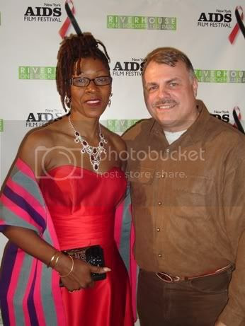 Marjorie J. Hill, CEO of Gay Men's Health Crisis, with filmmaker and activist Wolfgang Busch on World AIDS Day 2007.